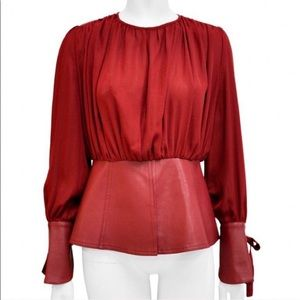 🖤Gracia🖤 Red Chiffon and Faux Leather Top